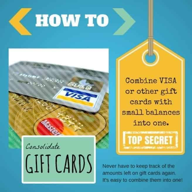 Consolidate Gift Cards - How to combine gift cards into one! Combine and consolidate old low balance gift cards into one so you can use them all at once. Quick & easy!