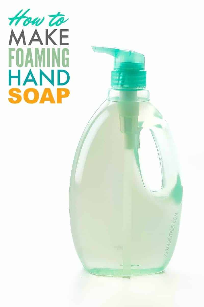 blue bottle of hand soap with text on it - how to make foaming hand soap