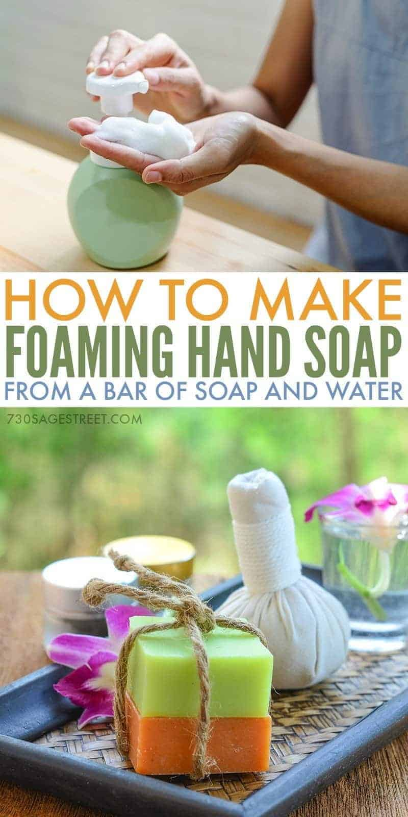 how to make foaming hand soap graphic for Pinterest