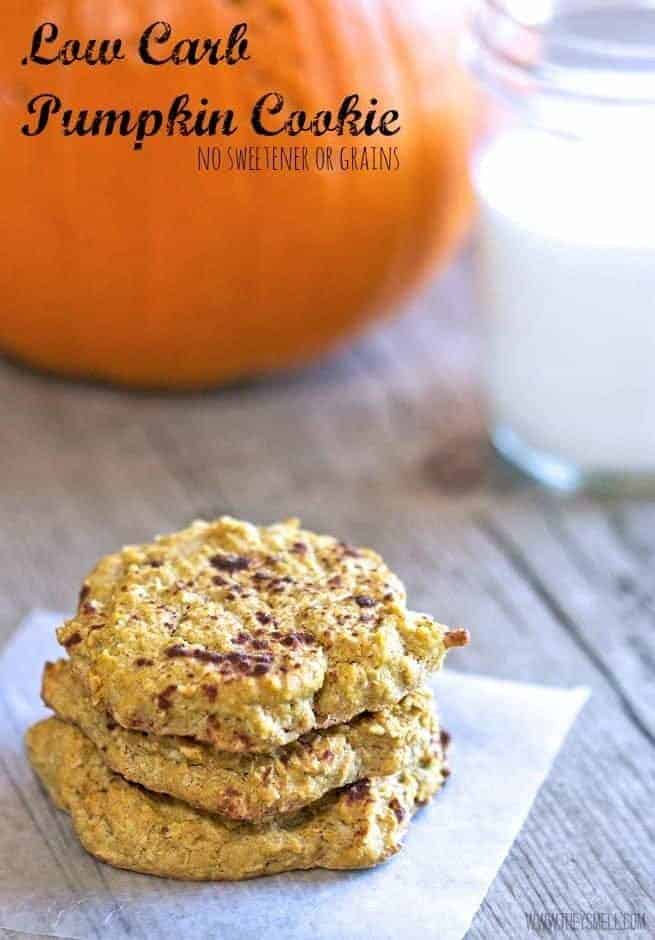 Low Carb Pumpkin Cookies on a wood background