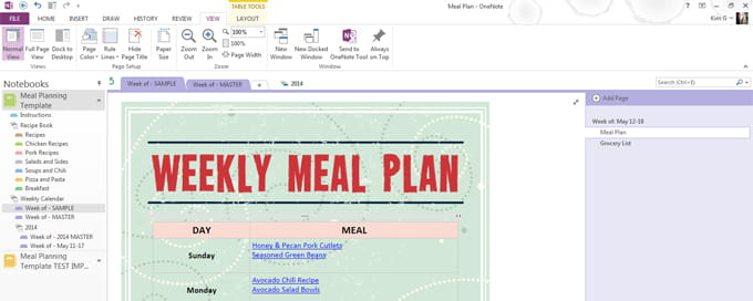 Meal planning template for microsoft onenote 730 sage street onenote is a fantastic tool for anything you want to keep track of you can even insert excel spreadsheets into a onenote notebook print just about pronofoot35fo Images