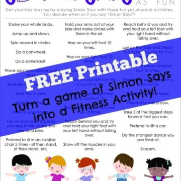 Simon Says Active Kids FREE printable activity for healthy kids
