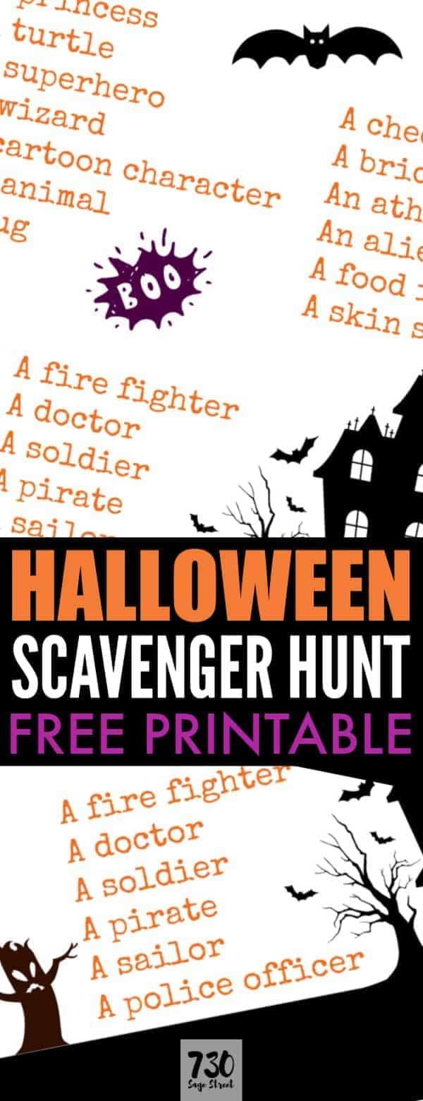 Halloween Scavenger Hunt Printable Fun Kids Activity - 730 Sage Street