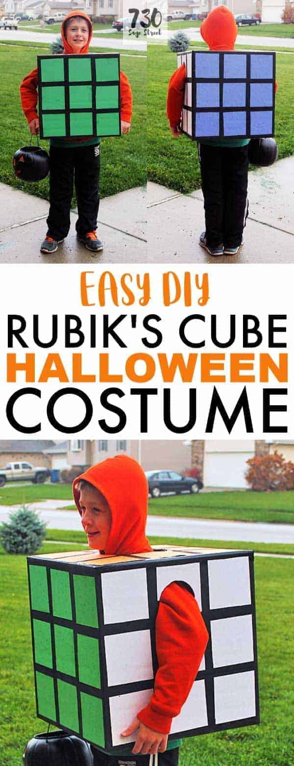 boy wearing a homemade Rubik's Cube costume for Halloween