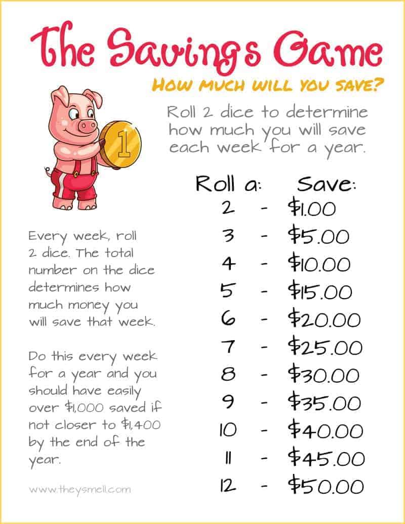 Free printable the savings game