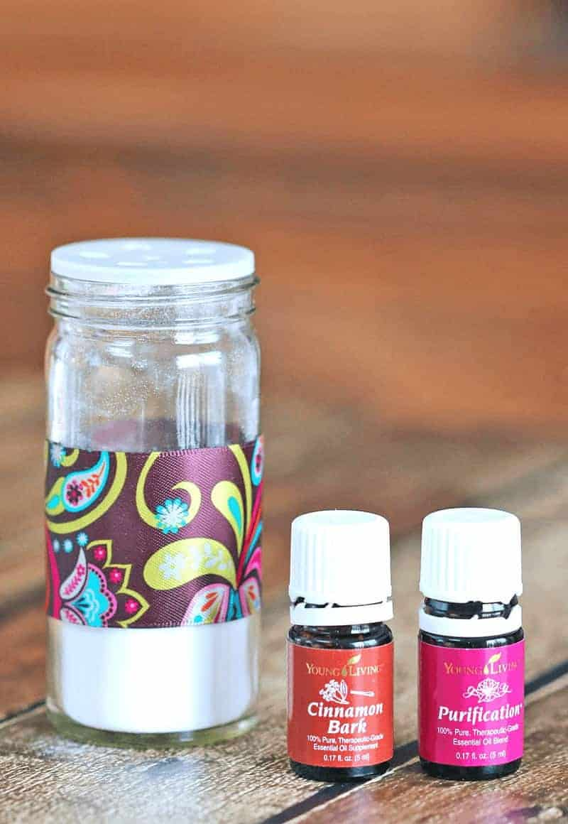 DIY Upcycled Spice Jar Air Freshener - this easy to make DIY air freshener is a green work of art that anyone can make using essential oils and baking soda.