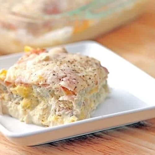"Breakfast Lasagna - this breakfast lasagna is low carb, lchf and keto since it uses thinly sliced deli ham as the ""noodle"". It's delicious and low carb!"