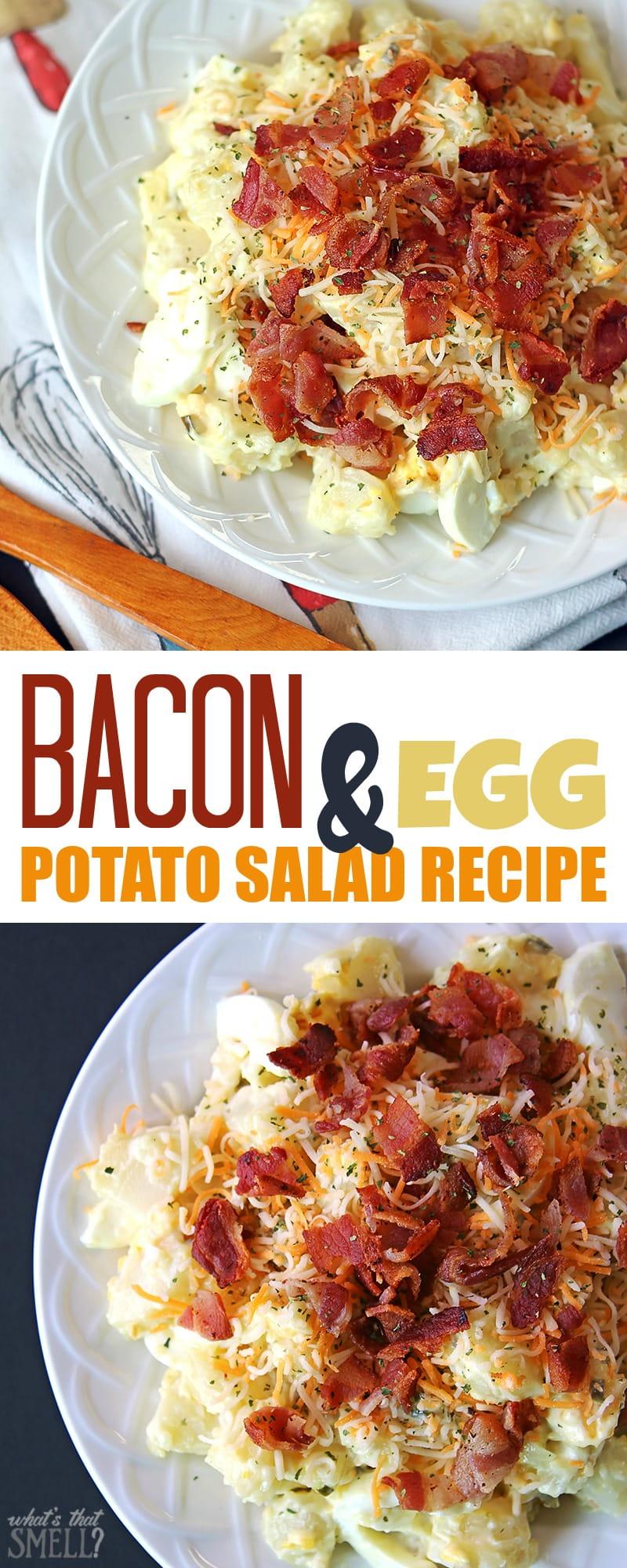 Bacon and egg potato salad recipe - this yummy potato salad includes bacon and eggs and no celery!