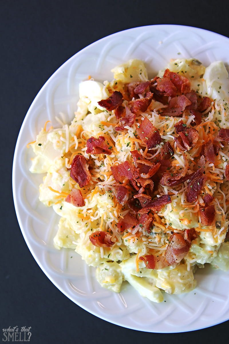 Bacon and egg potato salad recipe - this yummy potato salad includes bacon and eggs and no celery!