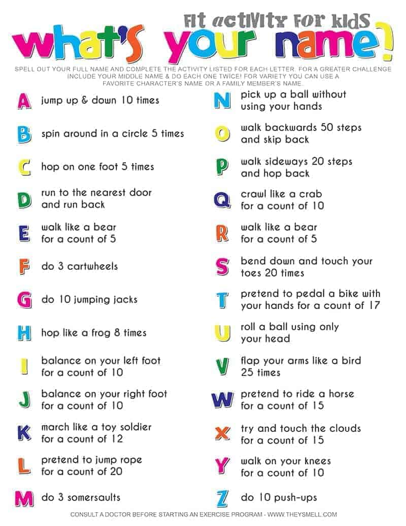 Whats Your Name Fitness Activity Printable For Kids