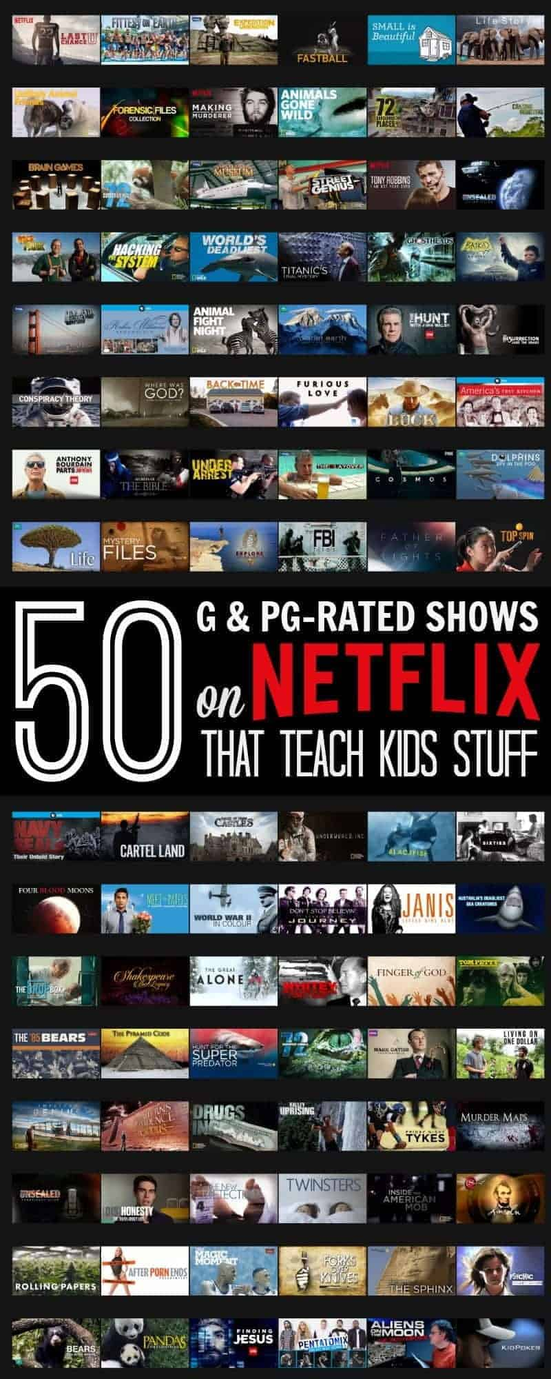 What I learned on Netflix - 50 G & PG-rated Shows that Actually Teach Kids Stuff - when your kids are stuck indoors Netflix can help you entertain them and keep them learning at the same time (without them really realizing it).