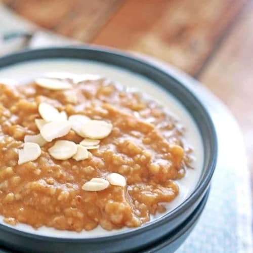 Pumpkin Pie Oatmeal - Sweet spices with pumpkin and nuts in delicious warm oatmeal make the cold weather totally worth it.