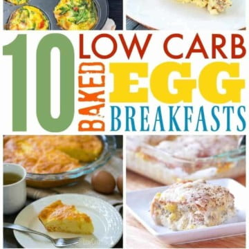 collage of Baked Eggs recipes with text in the middle reading low carb baked egg breakfast ideas