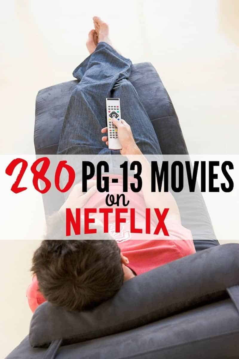 best PG 13 movies on Netflix graphic of a teenager on a chair with a remote