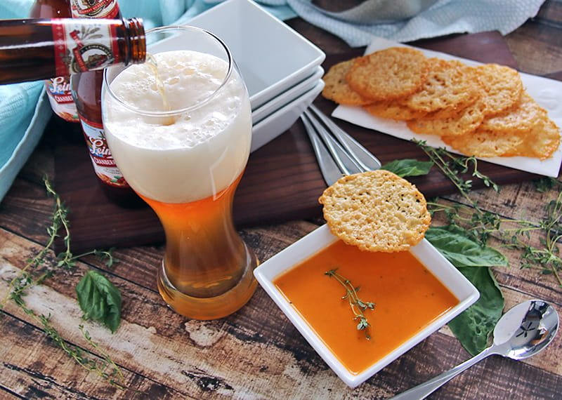 Tomato Soup with Parmesan Crisps - Did you know that beer pairing is a thing? Pints and Plates can help take the mystery out of choosing the right beer. This delicious recipe is easy to make and pairs perfectly with a Shandy style beer.
