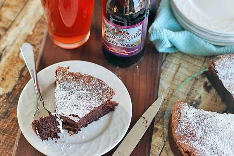 Flourless Chocolate Cake on a white plate