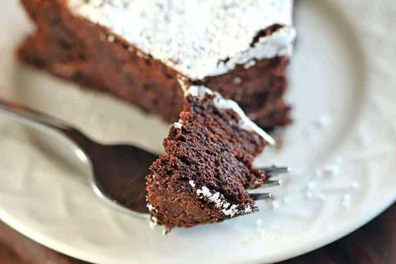 Flourless Chocolate Cake on a fork