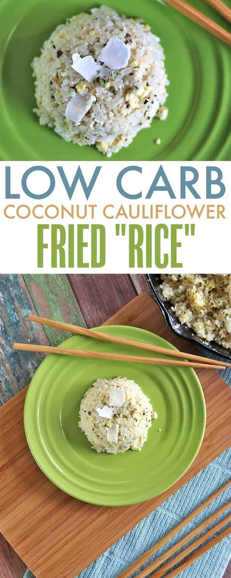 Low Carb Coconut Cauliflower Fried 'Rice'. This grain-free version of fried rice has the same texture as traditional fried rice but with the nutritional power of cauliflower and coconut.