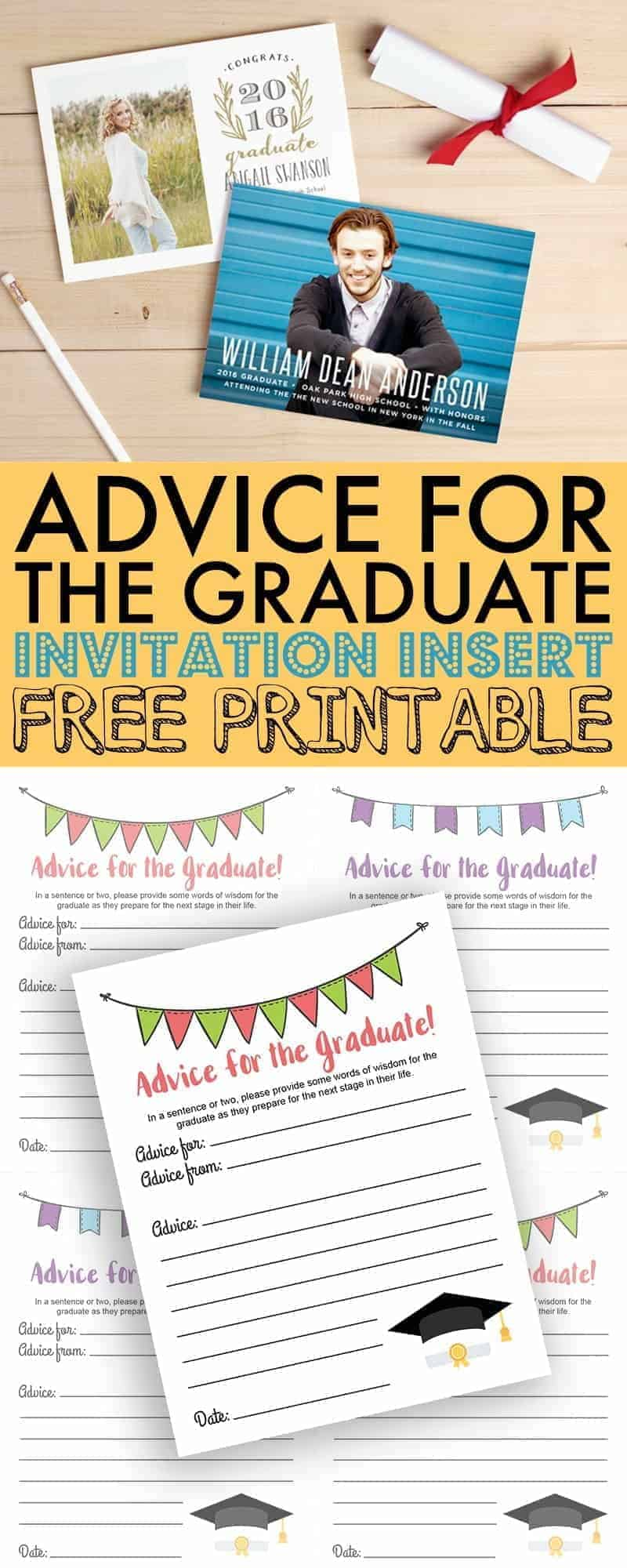 Include these free Advice for the Graduate printables with custom invitations and announcements from Basic Invite to create lasting memories and advice for 8th grade graduates.