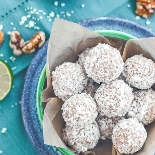 Low Carb Coconut Lime Truffles - these refreshing truffles are low carb, include dairy-free yogurt & can be made with almonds, walnuts or cashews.