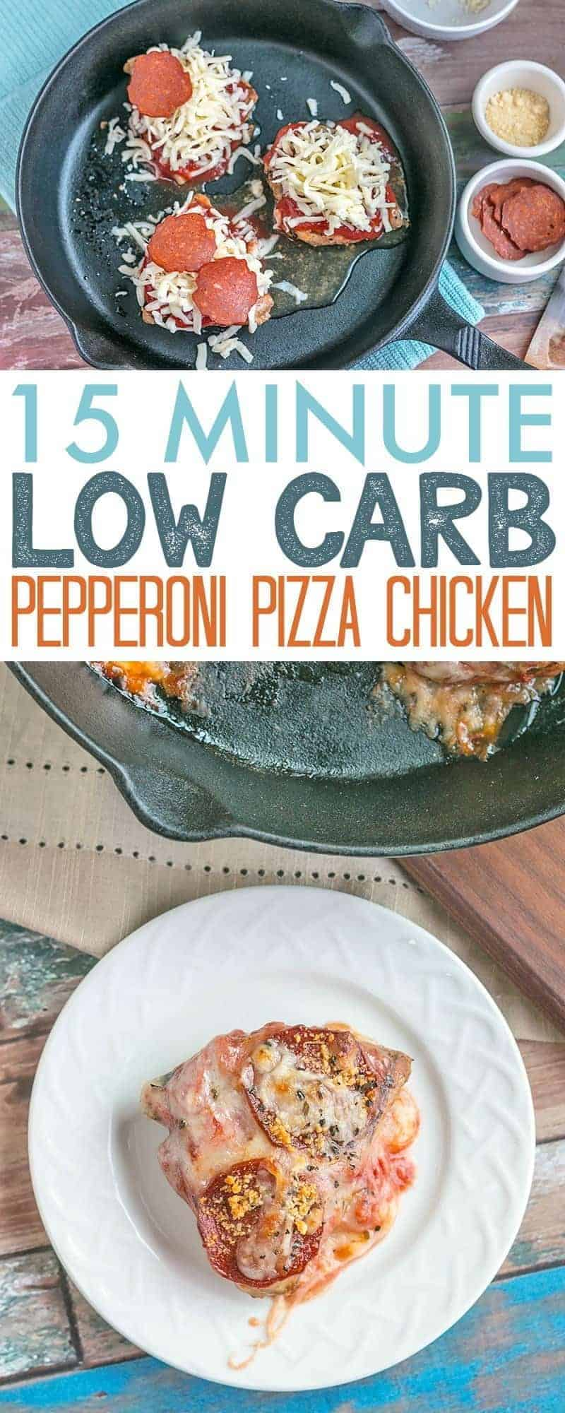 15 Minute Low Carb Pepperoni Pizza Chicken - super easy and delicious low carb / keto recipe ready in just 15 minutes.