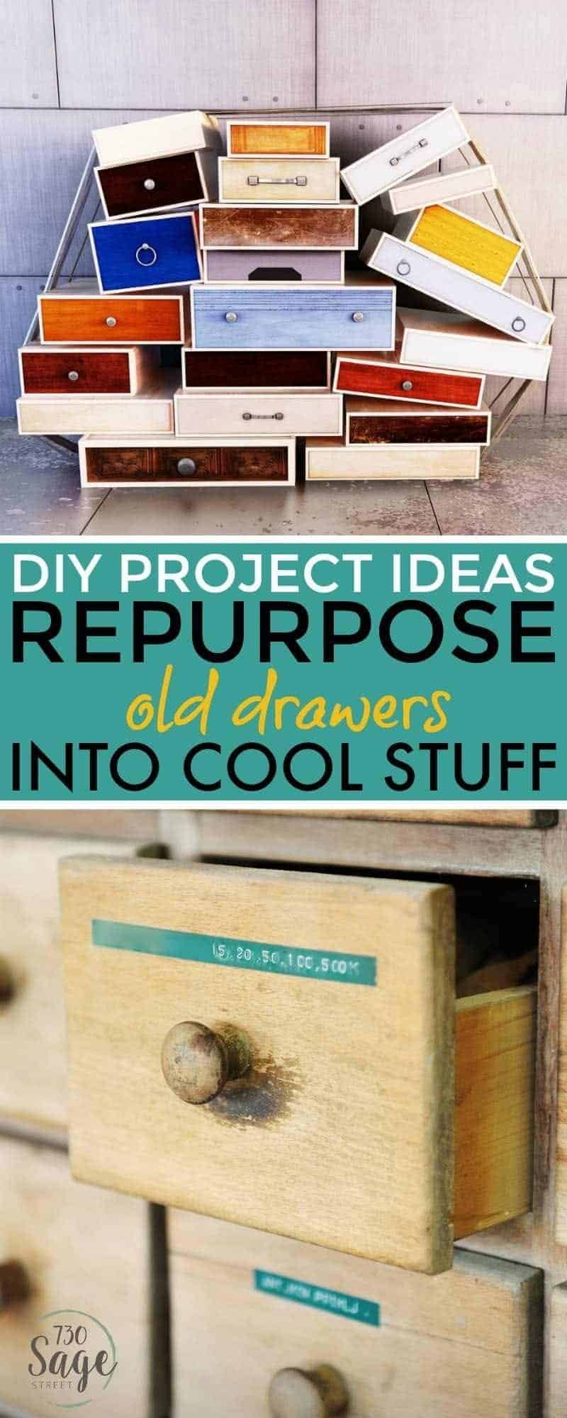 Check out these cool DIY recycled furniture projects using old drawers. Repurpose drawers into shelves, tables, planters, decor and more!
