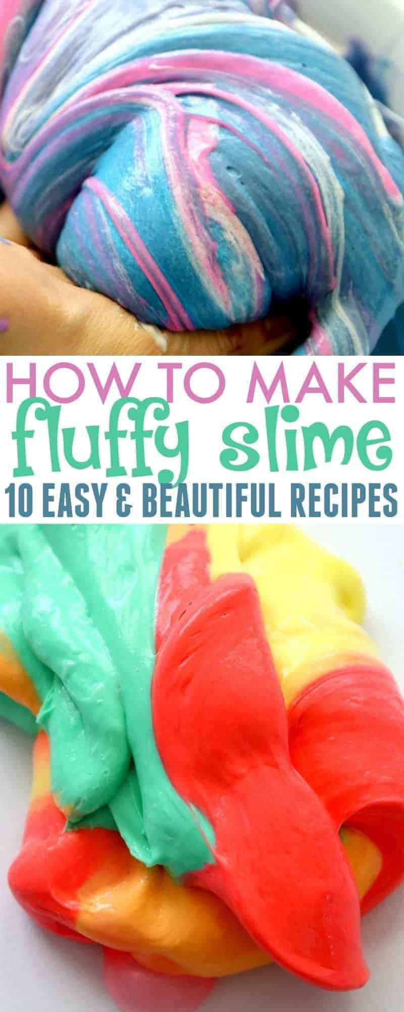 Learn how to make fluffy slime with these 10 easy and beautiful borax-free recipes. Great for crafts, parties, educational activities and more!