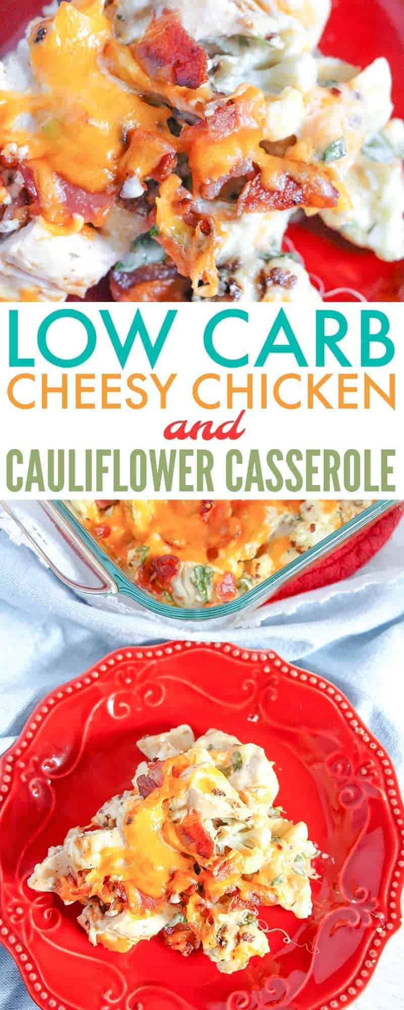 This low carb cheesy chicken and cauliflower casserole recipe will make you forget that you are eating low carb. It's hearty, filling, & best of all, yummy.