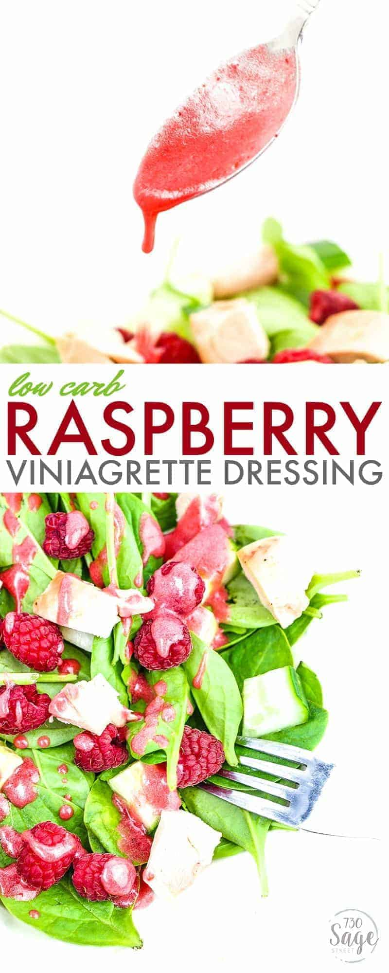 This low carb raspberry vinaigrette dressing is so stinkin' good. Perfect for ketogenic or low carb diets. Delicious flavor and super easy to make.