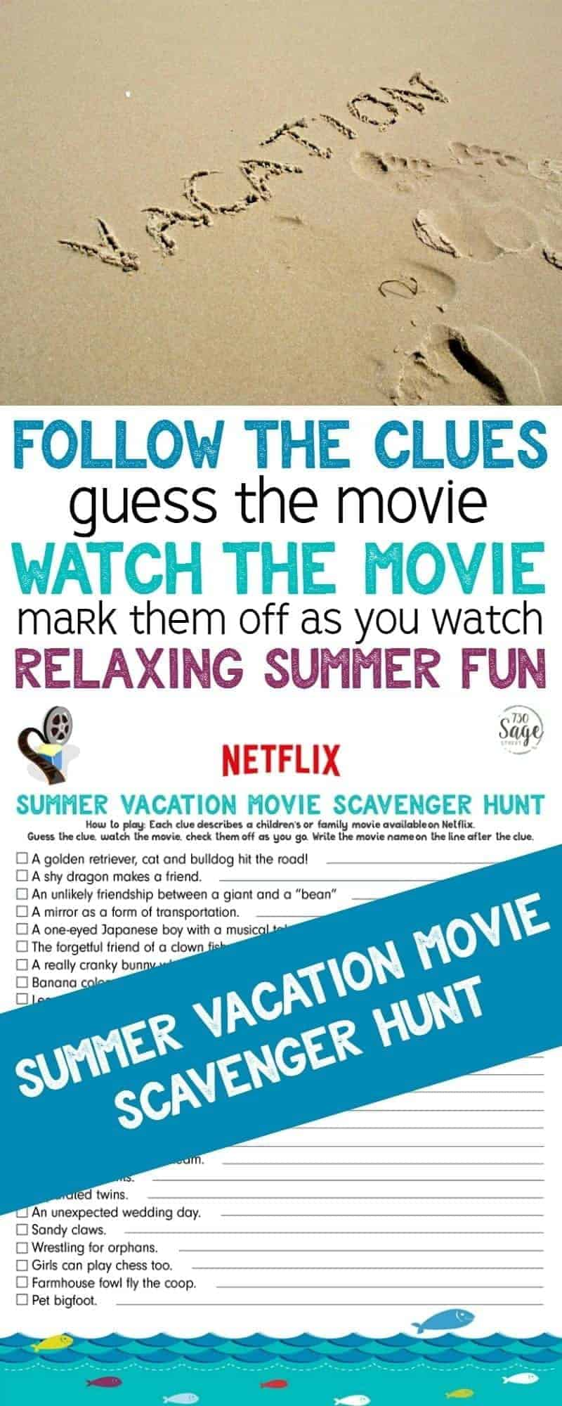 This Netflix Summer Vacation Movie Scavenger Hunt is filled with family-friendly movie clues for relaxing summer fun. Guess the movie clue, & mark them off as you watch.