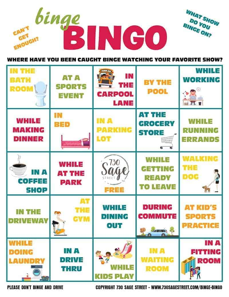 Binge Bingo - Sneaking is the New Bingeing with Netflix. Celebrate your sneaking some bingeing me time with this fun free printable bingo game!