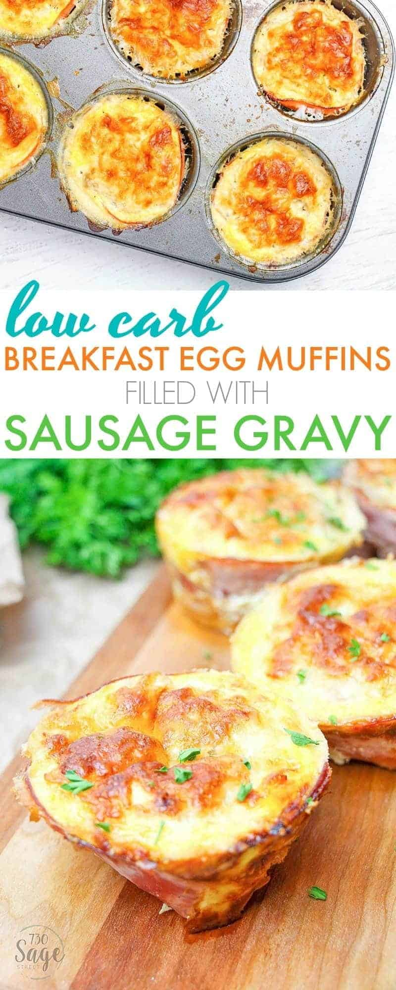 These low carb breakfast egg muffins are super easy to make and so delicious! Stuffed with yummy sausage gravy. Perfect to make ahead & reheat each morning for low carb & ketogenic diets.