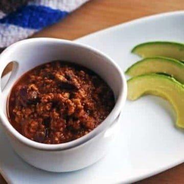 chili with avocado