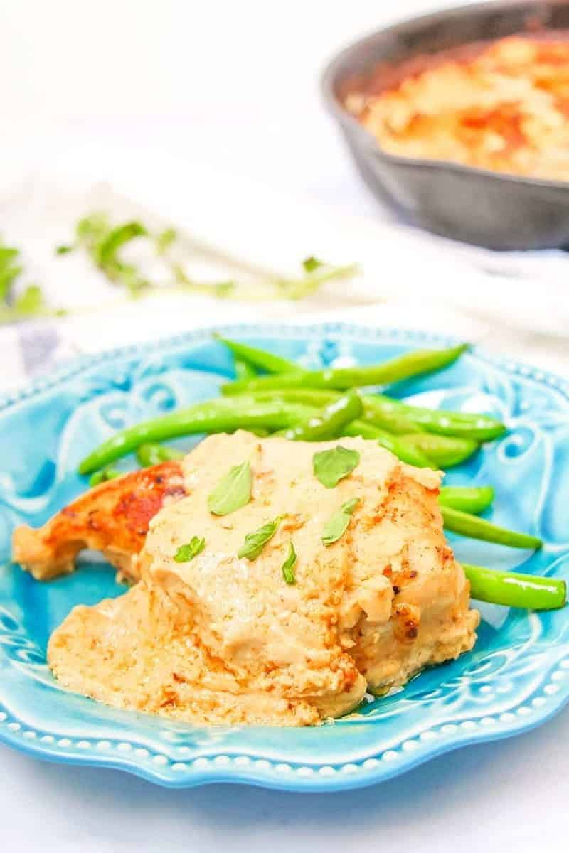 This rich and tart low carb creamy lemon chicken recipe is made in one skillet and is a delicious weekday keto dinner for busy schedules.