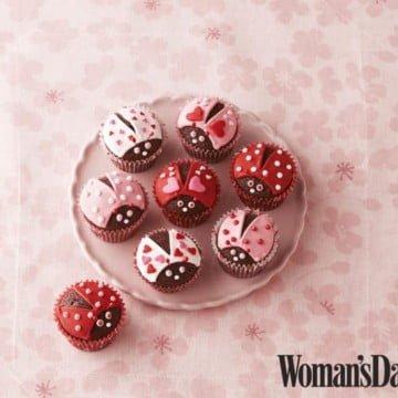 valentines ladybug cupcakes