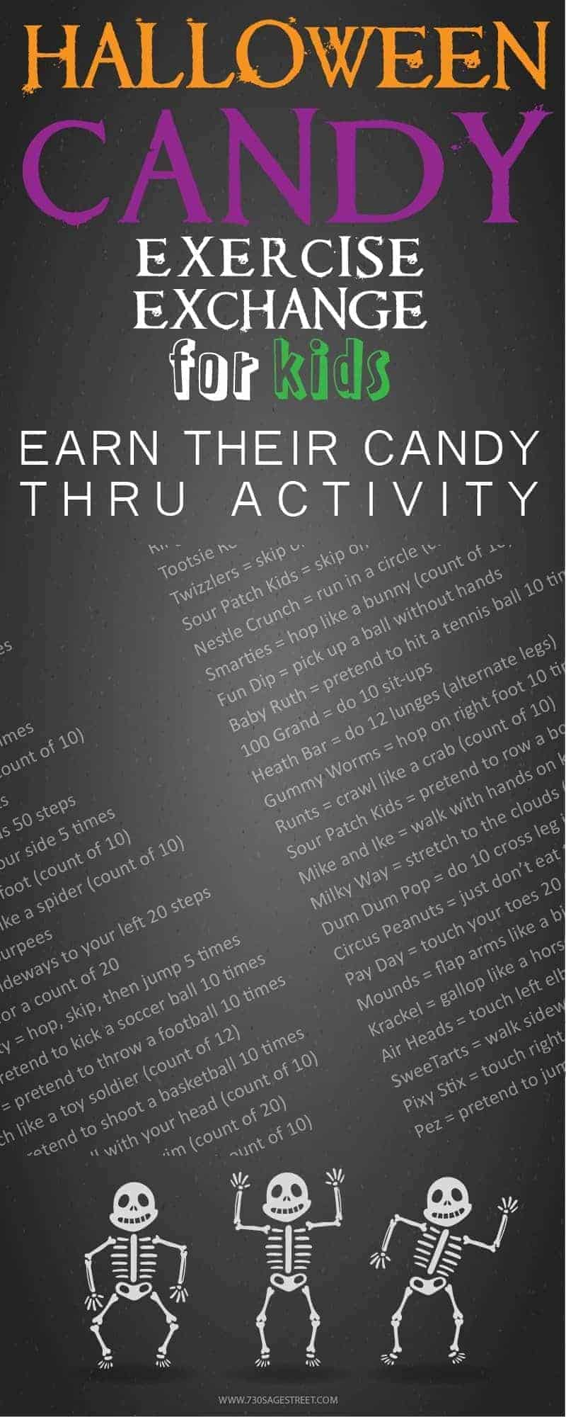 With this FREE printable Halloween Candy Exercise Exchange for Kids, they have to EARN their Halloween treats through physical activity.