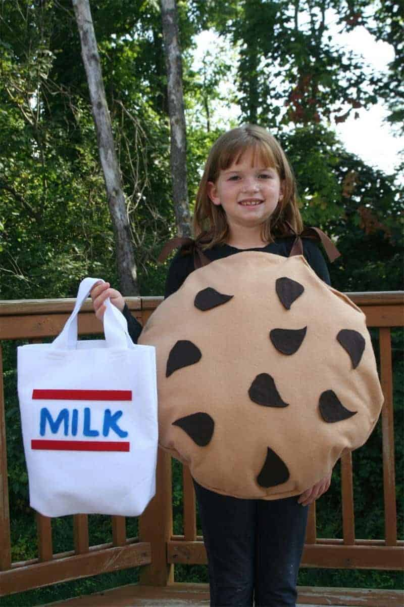 chocolate chip cookie and milk creative Halloween Costume for kids