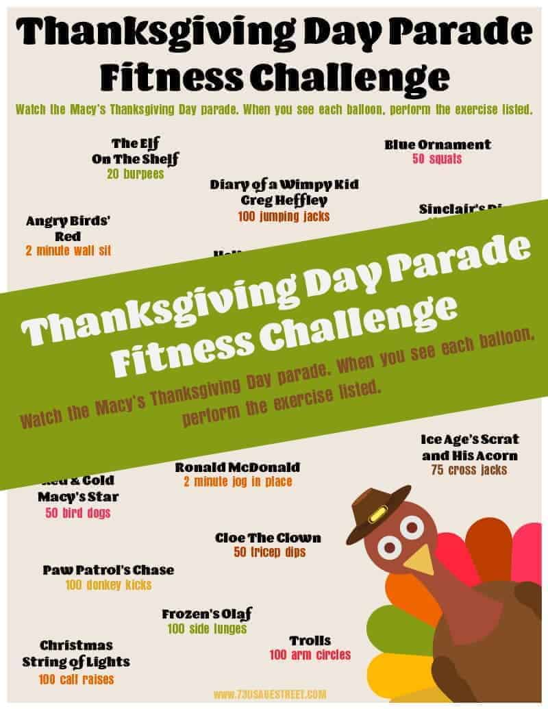 Printable sheet with exercises listed and a turkey graphic on the lower right corner.