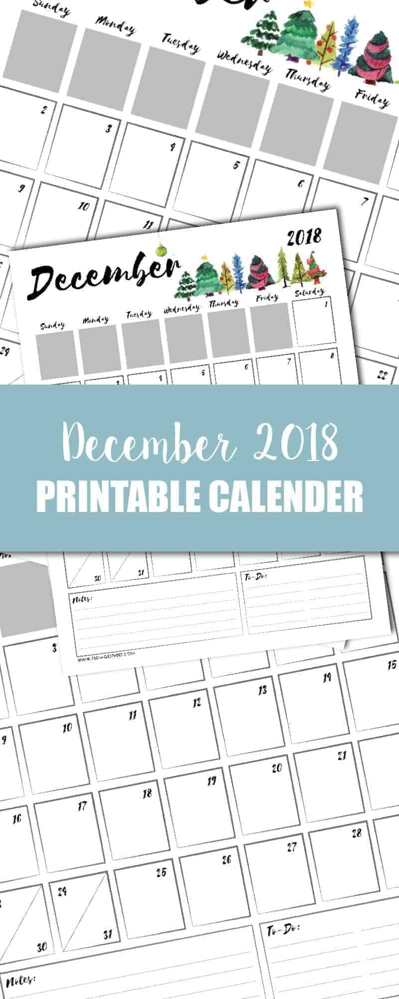 tall graphic showing a December 2018 printable calendar
