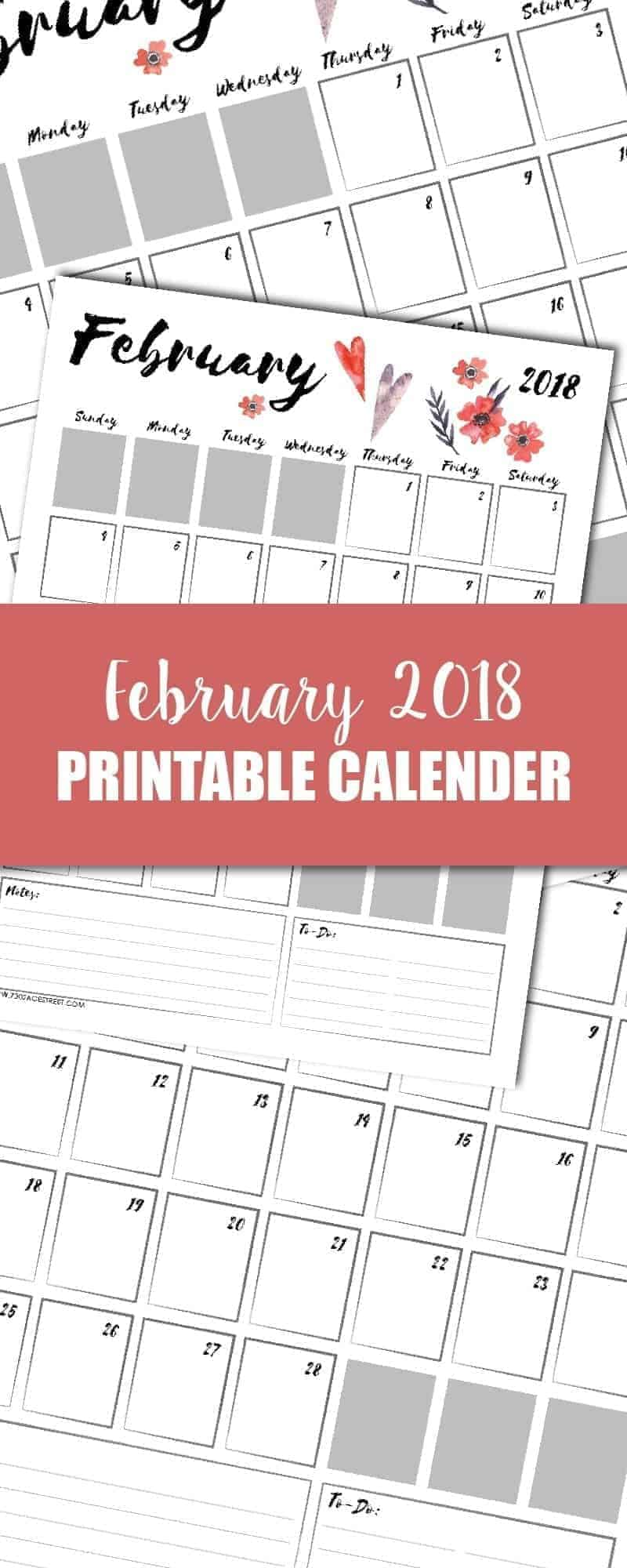 tall graphic showing a February 2018 printable calendar