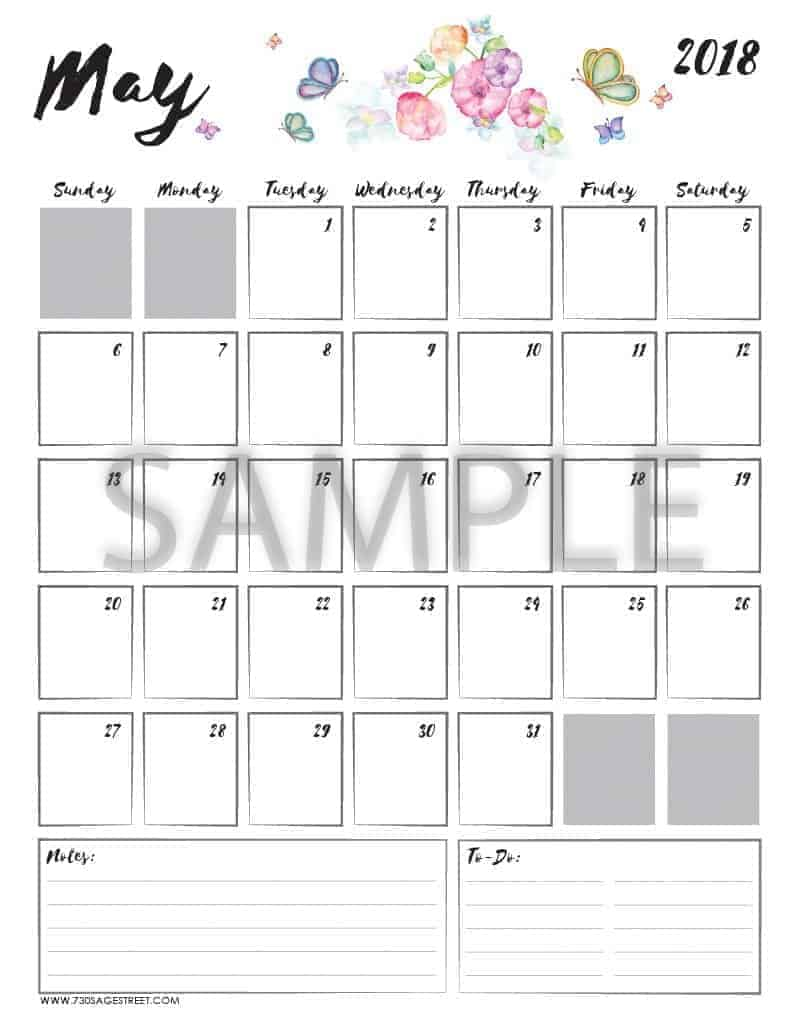 May 2018 Printable Calendar with the word sample typed across it