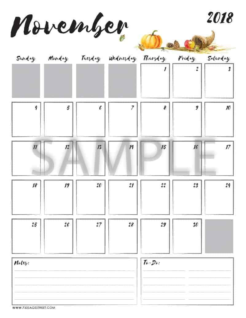 November 2018 Printable Calendar with the word sample typed across it
