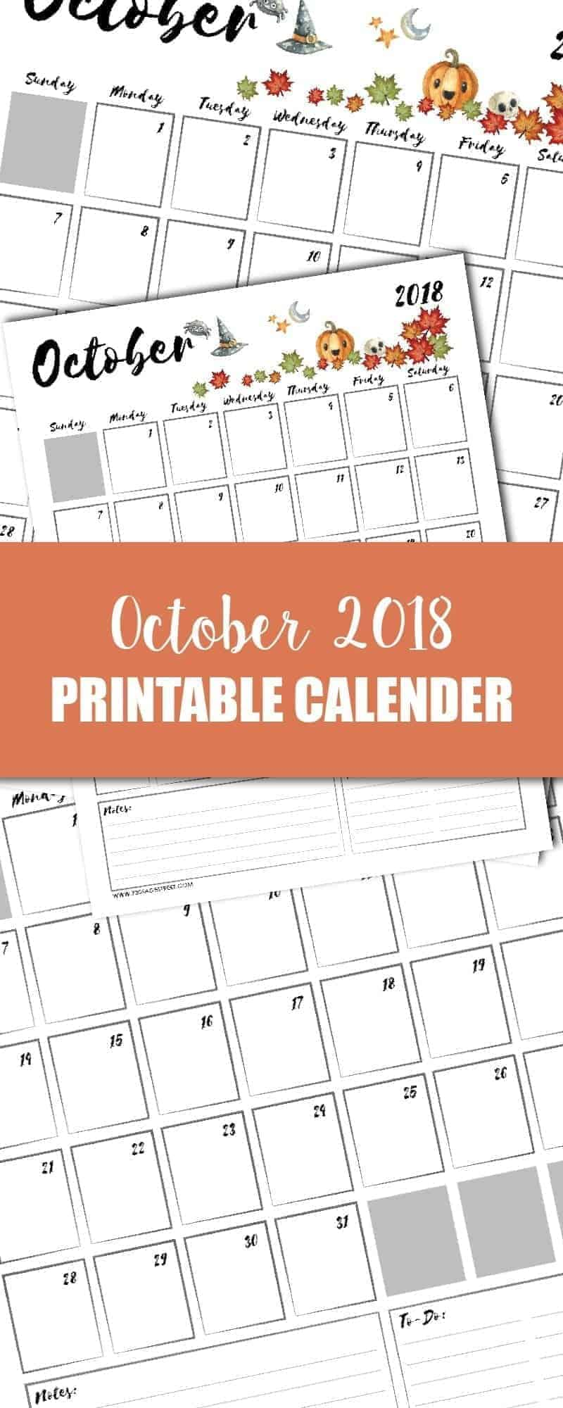 tall graphic showing a October 2018 printable calendar