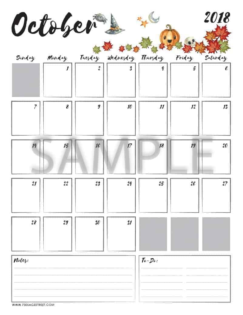 graphic regarding October Printable Calendar titled Oct 2018 Printable Calendar - No cost PDF Down load