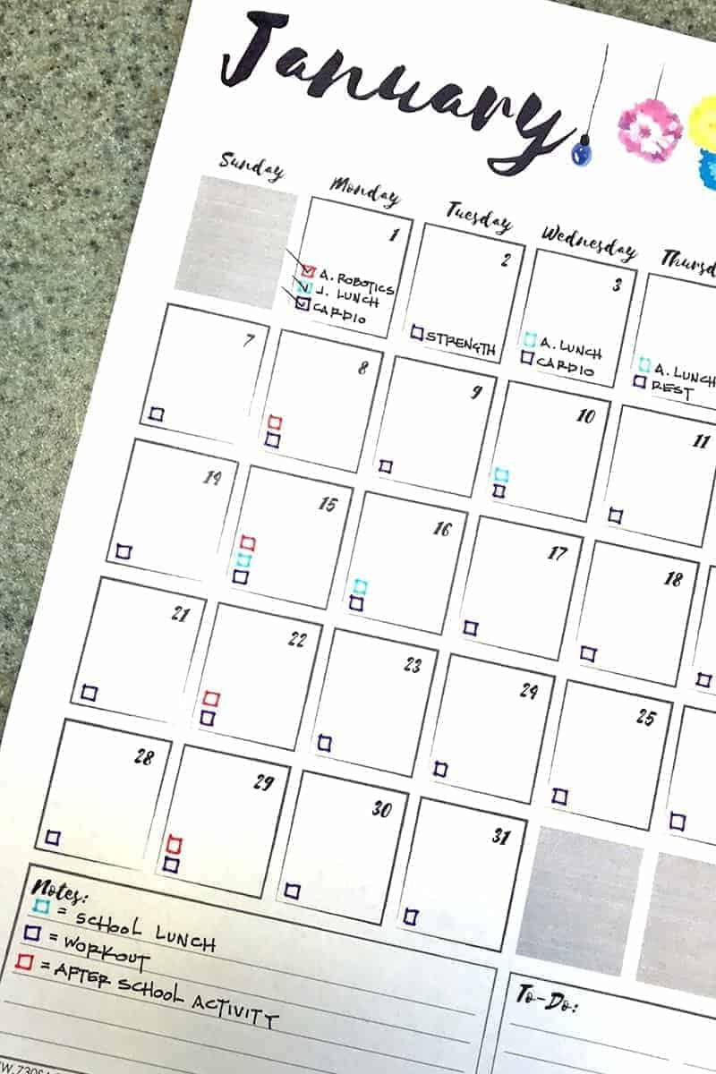 Photo of a partially filled out free printable calendar 2018.