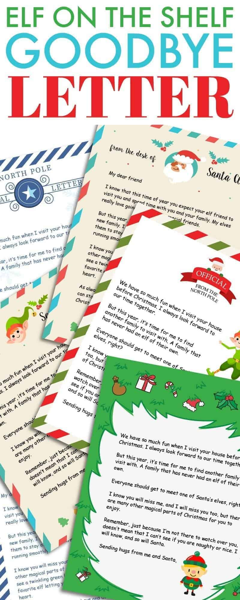 Elf on the Shelf Goodbye Letter Free Printable 730 Sage Street