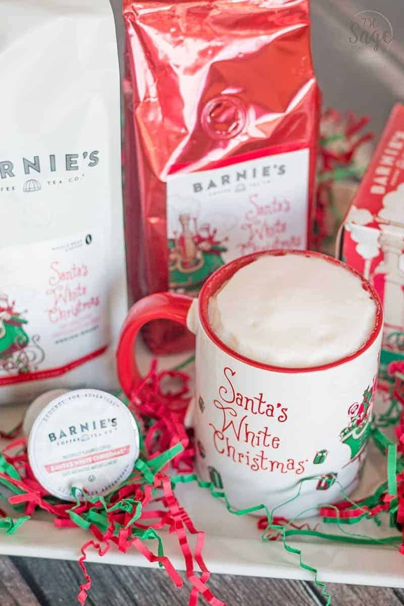 Learn how to make a delicious holiday latte easily at home with Barnie's Coffee Santa's White Christmas blend in whole bean, ground and single serve cups.
