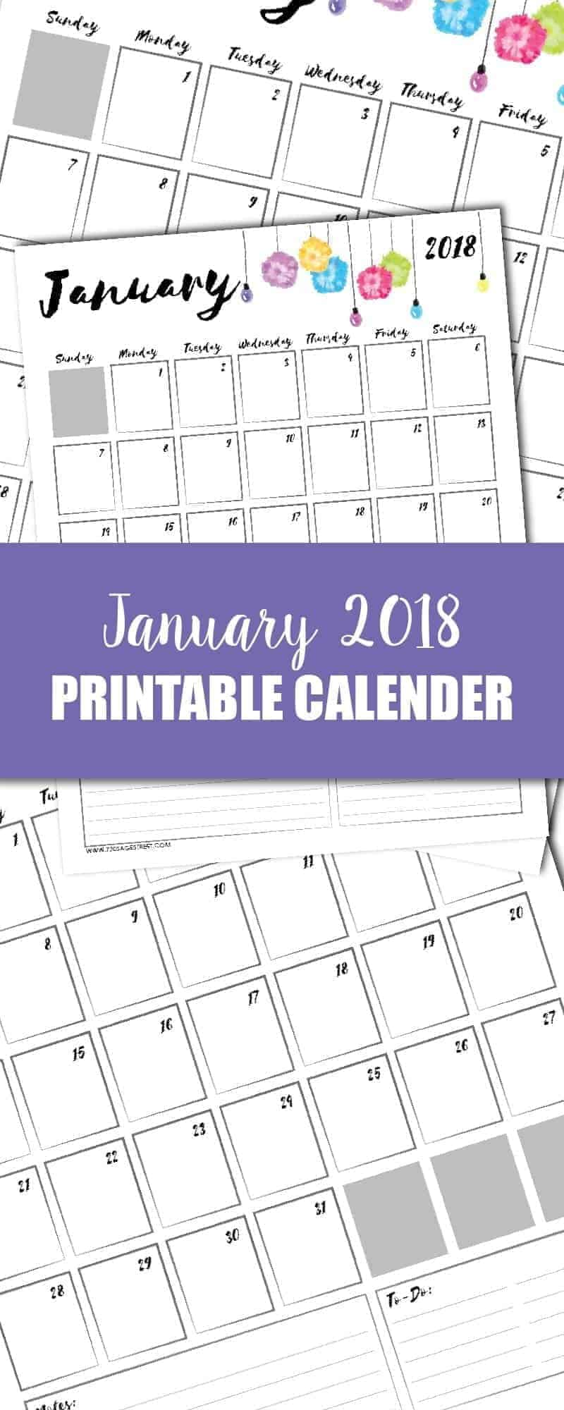 tall graphic showing a January 2018 printable calendar