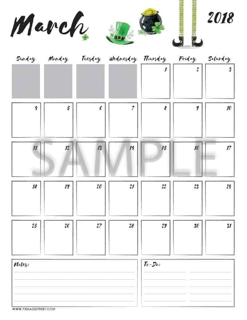 March 2018 Printable Calendar with the word sample typed across it