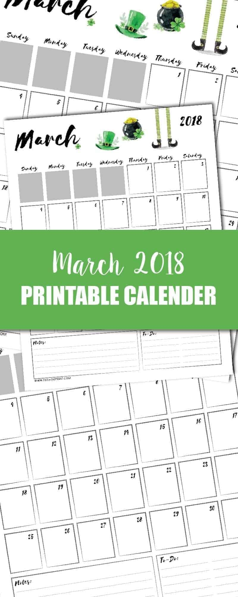 tall graphic showing a March 2018 printable calendar